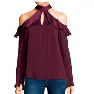 Wine color cold shoulder blouse Belle Sky top